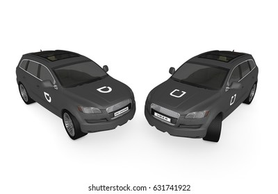 NEW YORK, UNITED STATES  - MAY 1, 2017 : Two black cars with printed Uber and Didi Chuxing logos. 3D Illustration.