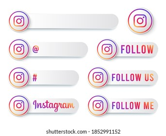 New York, United States - October 22, 2020. - Instagram Buttons Collection with Multicolor Logo. White Social Media Tags Set with Modern Icons, Symbol, Sing, Banner. 3D Round Button Templates.