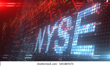 NEW YORK, USA - JULY 2019: NYSE The New York Stock Exchange ticker - 3D illustration rendering