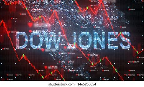NEW YORK, USA - JULY 2019: Dow Jones Industrial Average stock market index chart - 3D illustration rendering