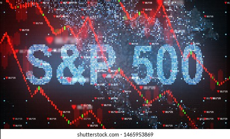 NEW YORK, USA - JULY 2019: S&P 500 stock market index chart - 3D illustration rendering