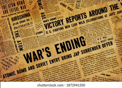 New York, USA – November 20, 2020: Collage of Newspaper headlines and articles during World War II.
