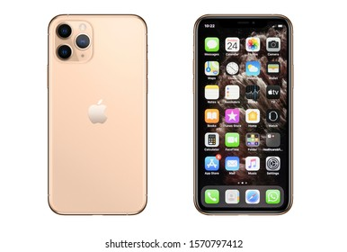 New York, USA- November 24, 2019: Front and back view of new  iPhone 11 Pro Gold smartphone.
