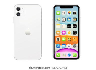 New York, USA- November 24, 2019: Front and rear view of white color Iphone 11 smartphone on white background.