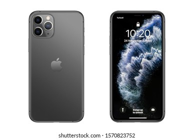 New York, USA- November 24, 2019: Front and back view of new  iPhone 11 Pro Gray smartphone.