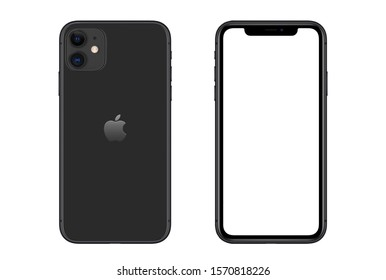 New York, USA- September 01, 2019: Front and rear view of black color Iphone 11 smartphone on white background.