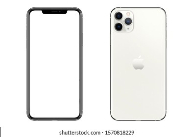 New York, USA- September 01, 2019: Front and back view of new  iPhone 11 Pro Max Silver smartphone mock up with blank screen.