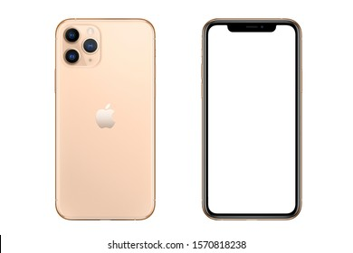 New York, USA- September 01, 2019: Front and back view of new  iPhone 11 Pro Gold smartphone mock up with blank screen.