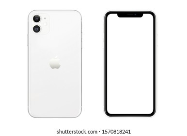 New York, USA- September 01, 2019: Front and rear view of white color Iphone 11 smartphone on white background.