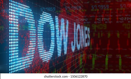 NEW YORK, USA - September 2019: Dow Jones Industrial Average stock market index title motion graphic - Conceptual 3D render