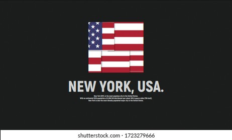 New York, USA. Text information about city with square national flag animation. Grey background. Unique design.