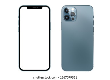 New York, USA-November, 05, 2020: New Pacific blue Color SMART PHONE 12 Front and back side. Smartphone mock up with white screen. Illustration for app, web, presentation, design.