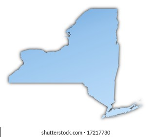 New York(USA) map light blue map with shadow. High resolution. Mercator projection.