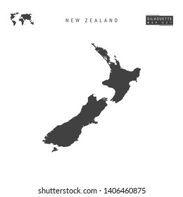 New Zealand Blank Map Isolated on White Background. High-Detailed Black Silhouette Map of New Zealand.
