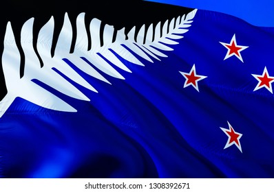 New Zealand new flag. 3D Waving flag design. The national symbol of New Zealand, 3D rendering. National colors and National flag of New Zealand for a background. Oceania sign on smooth silk