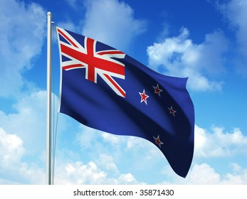 new zealand flag in blue sky background - 3d rendered image