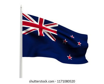 New Zealand flag floating in the wind with a White sky background. 3D illustration.