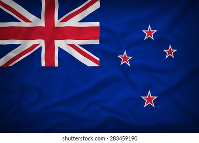 New Zealand flag on the fabric texture background,Vintage style