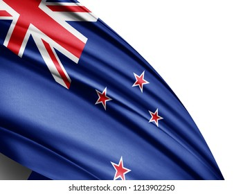 New Zealand flag of silk with copyspace for your text or images and white background -3D illustration-3D illustration