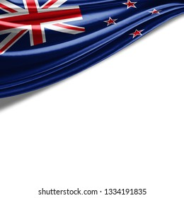 New Zealand flag of silk with copyspace for your text or images and white background-3D illustration