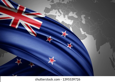 New Zealand flag of silk with copyspace for your text or images and world map background-3D illustration