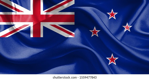 New Zealand Flag. Waving Rippled Flags. 3D Realistic Background Illustration in Silk Fabric Texture