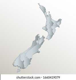 New Zealand map, administrative division, white blue card paper 3D blank raster