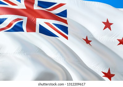 New Zealand Naval ensign flag. 3D Waving flag design. The national symbol of New Zealand Naval ensign, 3D rendering. The national symbol of New Zealand Naval ensign - Moscow 9 January 2019