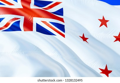 New Zealand Naval ensign flag. 3D Waving flag design. The national symbol of New Zealand Naval ensign, 3D rendering. National colors and National flag of New Zealand Naval ensign for a background