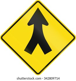 New Zealand road sign - Merge ahead.