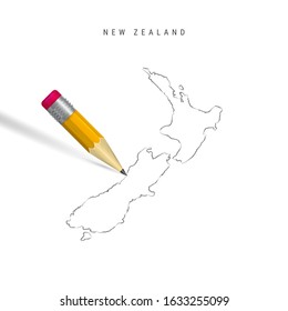 New Zealand sketch outline map isolated on white background. Empty hand drawn map of New Zealand. Realistic 3D pencil with soft shadow.