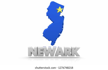 Newark NJ New Jersey City State Map 3d Illustration