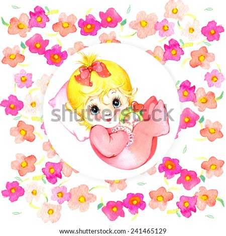 Newborn Baby Girl Background Card Congratulations Stock Illustration