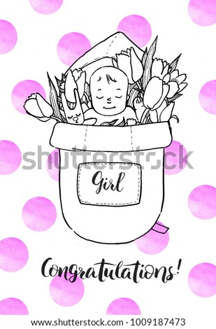 Newborn Baby Girl Flowers Congratulations New Stock Illustration