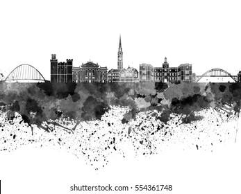 Newcastle skyline in black watercolor