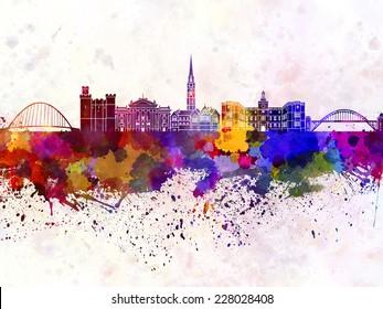 Newcastle skyline in watercolor background