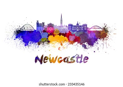 Newcastle skyline in watercolor splatters with clipping path