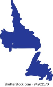 Newfoundland and Labrador map in blue