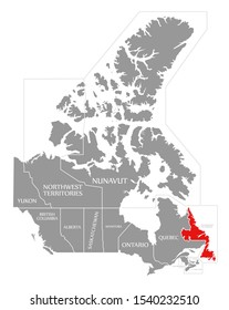 Newfoundland and Labrador red highlighted in map of Canada