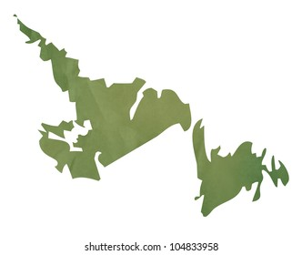Newfoundland  province of Canada map in old green paper isolated on white background.