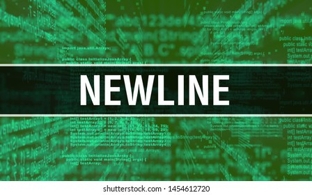 Newline with Digital java code text. Newline and Computer software coding vector concept. Programming coding script java, digital program code with Newline on screen illustration