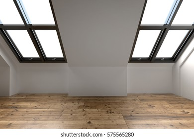 Newly converted attic space interior with two sloping windows in the pitch of the roof, white walls and a wooden floor. 3d Rendering.