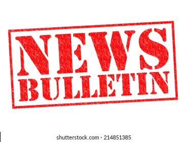 NEWS BULLETIN red Rubber Stamp over a white background.