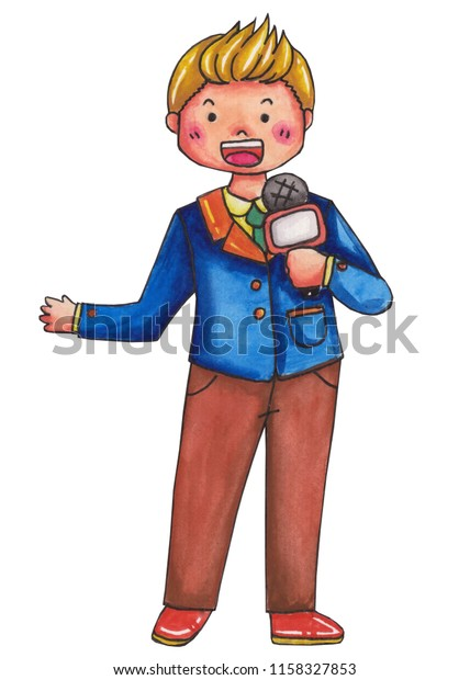 News Caster News Speaker Career Clip Stock Illustration 1158327853