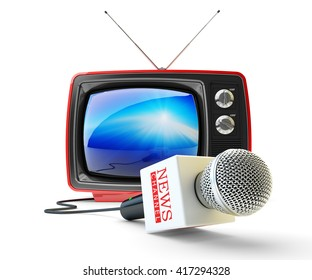 News channel television, mass media broadcasting and internet newscast concept, microphone and red retro tv set receiver isolated on white, 3d illustration