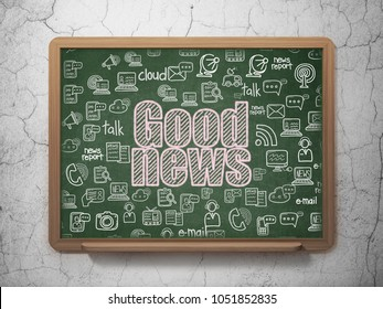 News concept: Chalk Pink text Good News on School board background with  Hand Drawn News Icons, 3D Rendering