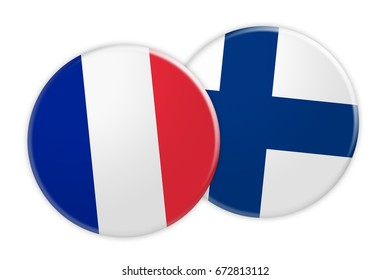 News Concept: France Flag Button On Finland Flag Button, 3d illustration on white background
