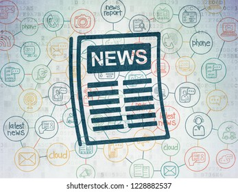 News concept: Painted blue Newspaper icon on Digital Data Paper background with Scheme Of Hand Drawn News Icons
