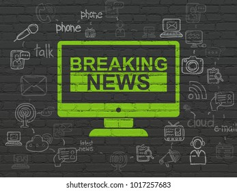 News concept: Painted green Breaking News On Screen icon on Black Brick wall background with Scheme Of Hand Drawn News Icons