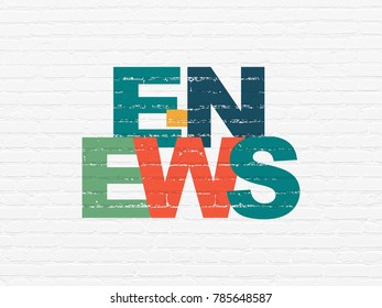 News concept: Painted multicolor text E-news on White Brick wall background